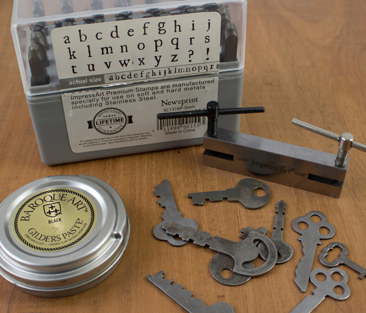 Metal stamped vintage key jewelry for Metal stamping press for jewelry